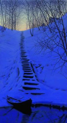 Snowy steps in a blue twilight!