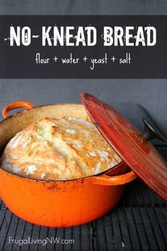 Simple no-knead bread recipe. This bread is crispy on the outside and soft on the inside with only 5 minutes of hands-on time. Perfect recipe for beginners. www.frugallivingnw.com