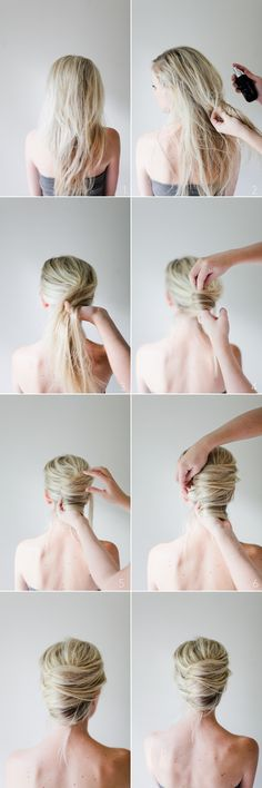 DIY Hair Bun diy diy ideas easy diy diy beauty diy hair diy fashion beauty diy diy bun diy style diy hair style diy updo Does anyone else see the irony here. It's says it's a DIY Hair bun, bun the model is clearly not the on doing it! Romantic Hairstyles, Bun Hairstyles, Pretty Hairstyles, Wedding Hairstyles, Summer Hairstyles, Style Hairstyle, Updo Hairstyle, French Roll Hairstyle, 1950s Hairstyles