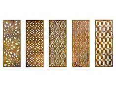 The patterns cut into Parasoleil copper panels cast gorgeous shadows, turning shade into a visually captivating element. Outdoor Rooms, Outdoor Decor, Outdoor Curtains, Privacy Walls, Privacy Screens, Privacy Screen For Deck, Shade Landscaping, Outdoor Privacy, Outdoor Screens
