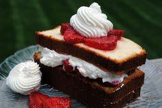 cream cheese pound cake + strawberries + whipped cream.