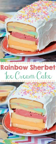 Rainbow Sherbet Ice Cream Cake - SO EASY! Frozen pound cake slices, softened raspberry, lime, and orange sherbet, and whipped topping - this is perfect for spring!