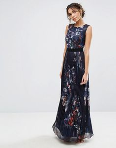 Little Mistress Pleated Maxi Dress in Navy Floral - Multi