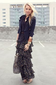 long floral skirt looks surprisingly modern when paired with a short jacket