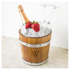 Cathy's Concepts Personalized Rustic Ice Bucket - N, Brown Silver