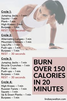 A HIIT workout (high intensity interval training) to burn more than 150 calories! Lose weight quickly and be healthy with this workout. body workout at home Hiit Workout Videos, Hiit Workouts With Weights, Hiit Workout Routine, Hiit Abs, Full Body Hiit Workout, Cardio Workout At Home, Workout For Beginners, Workout Fitness, Home Hiit