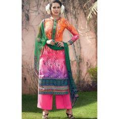 Bright Pink and Orange Floral Digital Printed Cotton Silk Palazzo