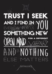 song quotes Metallica Nothing Else Matters Printed Lyrics Poster - available in and // Gift Ideas // Rock // Typography // Stocking Filler - Band Quotes, Song Lyric Quotes, Love Songs Lyrics, Music Lyrics, Song Lyrics Rock, Nothing Else Matters, Music Love, Music Is Life, Hard Rock