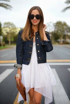 For a casual #spring look, pair a flowy white dress with a simple denim jacket! #GetDressed