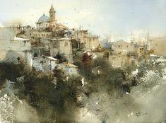 【Amalfi mountain town / 阿瑪菲山城】37 x 27 cm watercolor by Chien Chung Wei 簡忠威