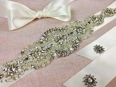 CHANTAL  Bridal sash  Bridal belt  Crystal Wedding by GarterQueen, $169.99