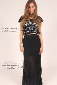 shirt_jack_daniels_saia_longa_plissada_transparente_brilhos - The girly things in life - Saias Black Skirt Outfits, Edgy Outfits, Grunge Outfits, Simple Outfits, Concert Looks, Rock Concert, Boho Fashion, Girl Fashion, Sexy Maxi Dress