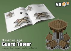 Fantasy World villages. This is a Guard Tower with all interiors designed. There is a kitchen, a bedroom, a dining room, a storage room inside the tower body and stairs to climb up to the watch are...