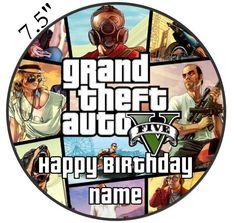 Personalised GTA5 Grand Theft Auto Edible Icing Topper 7.5in Precut Round Square