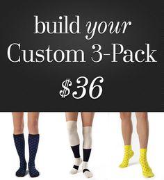 Custom 3 Pack - Organic Cotton Fashion Socks by Zkano - $36.00