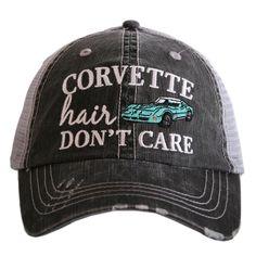 CORVETTE HAIR DON T CARE TRUCKER HATS 2340b5e5baac