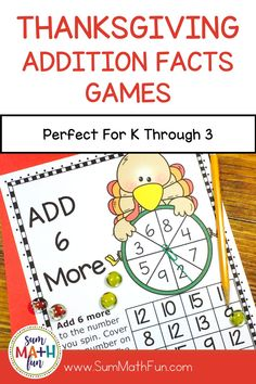Thanksgiving Addition Games for addition fact fluency are great for grades K through 3! - Just print, grab some counters, paper clips, and pencils and you are ready to go with 12 Thanksgiving math activities for rotations, centers, homework, math workshop, and stations! So easy to differentiate!