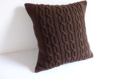 Chocolate brown hand knit pillow cable knit by Adorablewares