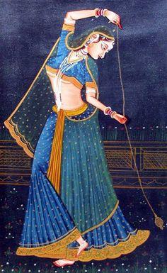 Rajasthani Miniature Paintings, Rajasthani Painting, Mughal Paintings, Indian Art Paintings, Paintings Online, Traditional Paintings, Traditional Art, India Art, Silk Painting