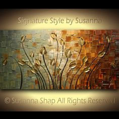 ORIGINAL Abstract Contemporary Heavy Texture Brown Blue Gold Tulips Painting Palette Knife Impasto Landscape by Susanna 48x24 Ready to Hang. $345.00, via Etsy.
