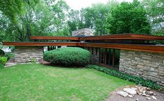 Alvin Miller House by Frank Lloyd Wright, Usonian Style, Charles City, IA, 1951 Frank Lloyd Wright Style, Frank Lloyd Wright Buildings, Organic Architecture, Architecture Design, Usonian House, Miller Homes, Mid Century House, Charles City, Arches