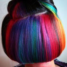 Hair Color Dark, Cool Hair Color, Hair Colors, Hidden Rainbow Hair, Natural Hair Styles, Short Hair Styles, Underlights Hair, Hair Blog, Light Hair