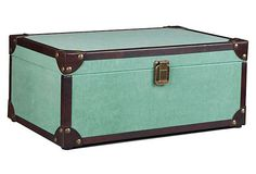 Leather Canvas Storage Box, Turquoise on OneKingsLane.com