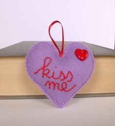 Kiss me  lilac felt heart  HeaRt button  hanging by TheFrenchKnots