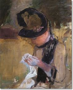 Mary Cassatt - Woman In Black And Green Bonnet Sewing