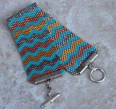 Handmade Peyote Beaded Bracelet Copper Gold by TombstoneBeads,