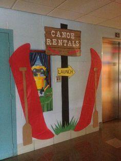 43 Ideas for camping theme hallway Class Decoration, School Decorations, Sunday School Themes, Summer Camp Themes, School Doors, Vacation Bible School, Camping Theme, Kids Church, Camp Theme Classroom