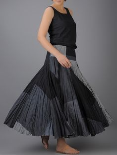 Buy Grey Black Elasticated Waist Crinkled Cotton Skirt Women Skirts The Butterfly Effect Bolero jackets tops sling bags and more Online at Jaypore.com