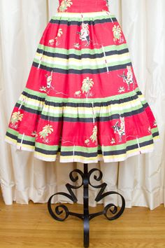1950s Skirt // Mexican on Donkey Novelty Print by GarbOhVintage