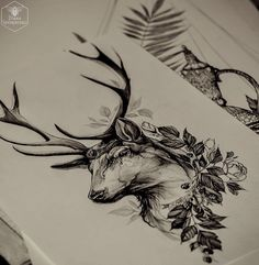 Idea for deer tattoo. Would like to be framed, more feminine, more color and more modern traditional.