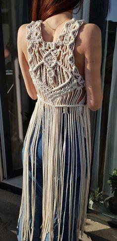 Items similar to Macrame corset top with fringe on Etsy - bridalshower Macrame Dress, Macrame Bag, Macrame Design, Macrame Projects, Festival Looks, Macrame Patterns, Paracord, Corset, Boho