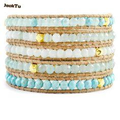 amazone with gold laser beads leather wrap bracelet