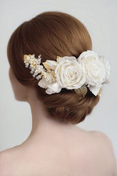 Silk rose with gold and pearl detail bridal headpiece by Yelena Accessories