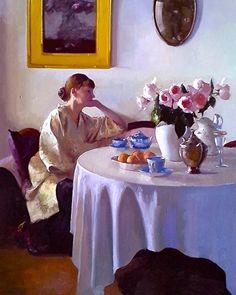 """Japonica"" an original oil painting by artist Dennis Perrin Tea Art, Elements Of Art, Portrait Art, Painting Portraits, Figure Painting, Painting Art, Contemporary Paintings, Figurative Art, Love Art"