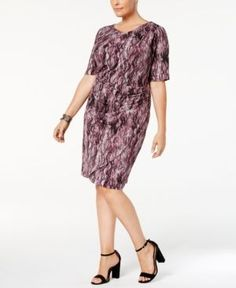 Connected Plus Size Printed Sarong Dress - Purple 16W