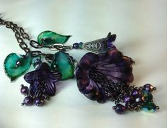Hand Watercolored Lucite Flower Necklace by BeadazzledBySharon