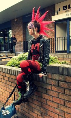 #punk #fashion #mohawks red hair, boots