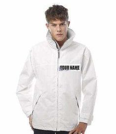 MENS PERSONALISED WHITE WATERPROOF JACKET FOR LAWN BOWLS, SAILING S,M,L,XL,XXL