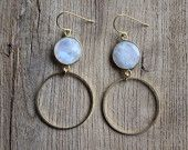 Bezel set Moonstones With Gold tone Hoops. www.etsy.com/shop/JESDesignStudio