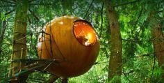 El diseñador Tom Chudleigh es el creador de estas originales casas en los árboles. El objetivo principal del proyecto es convivir al máximo con la naturaleza y ser respetuoso con el medio ambiente. Estos reducidos espacios esféricos conforman un hotel mágico, único y ecológico que se puede encontrar en Vancouver, Canadá.