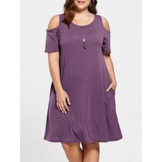RoseWholesale - Rosewholesale Plus Size Tunic Cold Shoulder Dress - AdoreWe.com