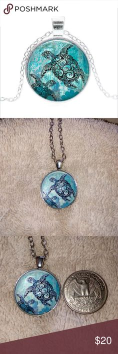 Turtle Pendant Necklace Fashion silver & glass pendant turtles swimming. Jewelry Necklaces