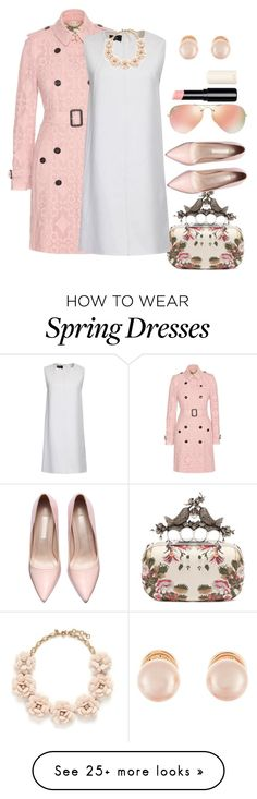 """Spring 2"" by habibati on Polyvore featuring Burberry, Alexander McQueen, Ray-Ban, J.Crew, Kenneth Jay Lane, women's clothing, women, female, woman and misses"