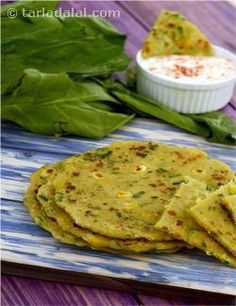 Made with a dough of wholesome whole wheat flour and besan bound together with calcium-rich curds, this sumptuous roti is made all the more tasty and healthy by the addition of exciting and nutritious veggies like sweet corn, potatoes and spinach. It is so tasty, you do not even need a dal or subzi to go with it, just a cup of raita would do! While making the Masala Roti, do not sieve the wheat flour, to avoid loss of fibre.