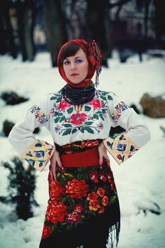 Ukraine, from Iryna Polish Embroidery, Hungarian Embroidery, Art Costume, Folk Costume, Folk Fashion, Ethnic Fashion, Folklore, Hungarian Girls, Mein Style