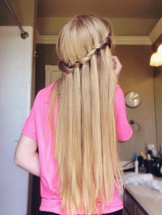 blonde, blondes, braid, braids, girl, girly, hair, hairstyle, pink, pretty, summer, tumblr, waterfall braid